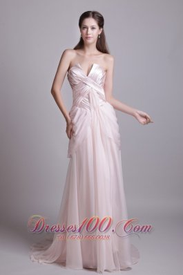 Fashion Pink Empire Strapless Brush Train Chiffon Pleat Prom Dress
