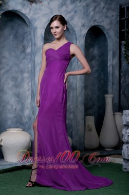 Fashion Eggplant Purple Column Prom / Homecoming Dress One Shoulder Chiffon Brush Train