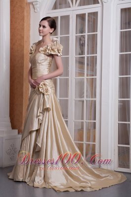 Fashion Customize Champagne A-line Sweetheart Wedding Dress Silk Like Satin Hand Made Flower Court Train
