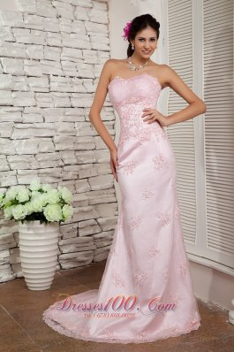 Fashion Elegant Baby Pink Prom Dress Column Sweetheart Beading Brush Train Lace