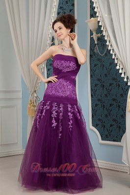 Fashion Cheap Elegant Purple Prom Dress Column Strapless Embroidery Floor-length Tulle