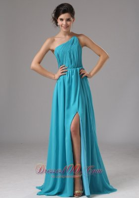 Formal Strapless Chiffon High Slit Aqua Blue Brush / Sweep Prom Dress Ruched