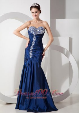 Formal Modern Navy Blue Mermaid Prom Dress with Ruch and Beading