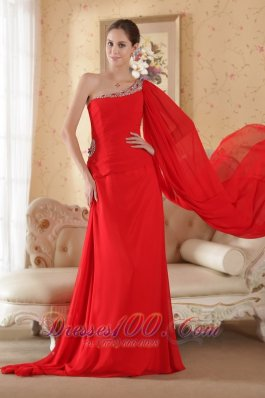 Formal Red Column One Shoulder Watteau Train Chiffon Beading and Sequin Prom Dress
