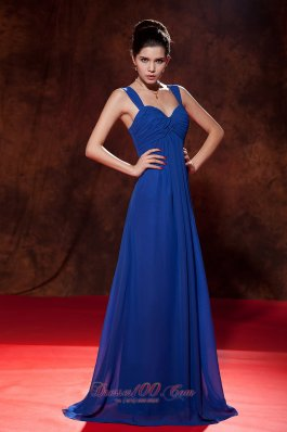 Formal Modest Royal Blue Empire Straps Homecoming Dress Brush Train Chiffon Ruch