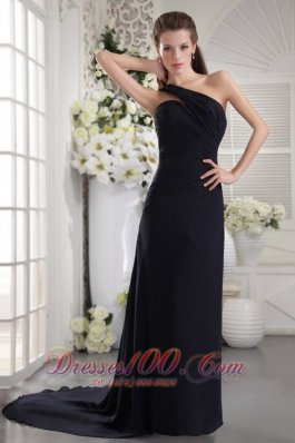 Formal Black Column One Shoulder Brush Train Chiffon Ruch Prom / Graduation Dress