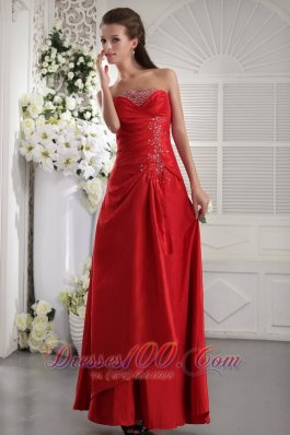 Formal Wine Red Column / Sheath Strapless Ankle-length Taffeta Beading Prom / Evening Dress
