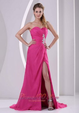 Celebrity High Slit Hot Pink Sweetheart Stylish Prom Celebrity Dress Appliques and Ruch