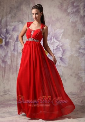 Celebrity Red Empire / Princess Straps Floor-length Chiffon Beading Prom Dress
