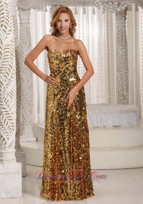 Celebrity Paillette Over Skirt Sweetheart Floor-length Gold Luxurious Prom Dress Party Style