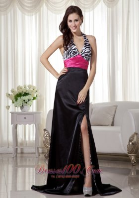 Celebrity Black and Hot Pink Column / Sheath Halter Brush Train Zebra Prom Dress