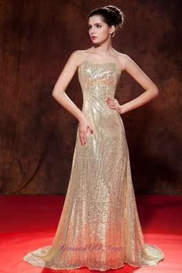 Celebrity Luxurious Champagne Evening Dress Empire Sweetheart Sequin Brush Train