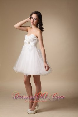 White A-line Sweetheart Mini-length Taffeta and Organza Hand Made Flowers Prom Dress  Cocktail Dress