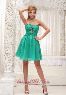 Ruched Bodice and Beaded Decorate Bust Simple Green Chiffon Gown For 2013 Prom Dress  Cocktail Dress