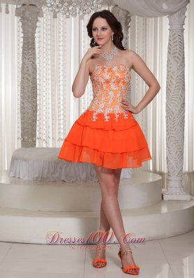 Appliques Decorate Orange Sweetheart Lace-up Prom / Cocktail Dress With Mini-length  Cocktail Dress
