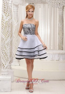 Fashionable Grey 2013 Prom / Homecoming Dress With Mini-length A-line Tiered Strapless Organza and Zebra Gown  Cocktail Dress