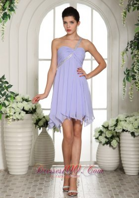 Lilac Beaded Decorate One Shoulder Mini-length Chiffon 2013 Homecoming / Cocktail Dress Cocktail Dress