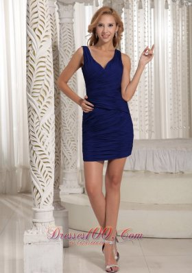 Royal Blue V-neck Sheath Mini-length Ruch 2012 Prom Homecoming Dress  Cocktail Dress