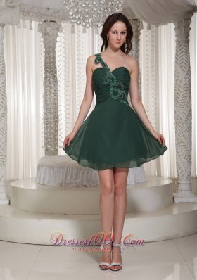 Short Peacock Green Prom / Cocktail Dress With Ruch Bodice One Shoulder Sweetheart  Cocktail Dress