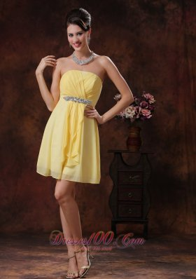Mesa Arizona Customize Yellow Bridesmid Dress With Beaded and Ruch Decorate  Cocktail Dress