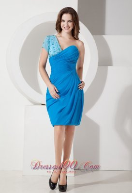 Popular Sky Blue Column One Shoulder Homecoming Dress Chiffon Ruch and Beading Knee-length  Cocktail Dress