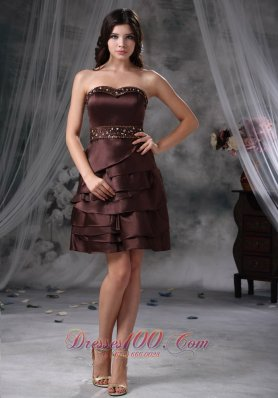 Brown Empire Sweetheart Mini-length Satin Beading Prom Dress  Cocktail Dress