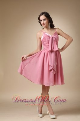 Rose Pink A-line Spaghetti Straps Knee-length Chiffon Ruch Prom / Homecoming  Cocktail Dress
