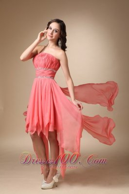Watermelon Red A-line Strapless Asymmetrical Chiffon Beading Prom / Homecoming Dress  Cocktail Dress