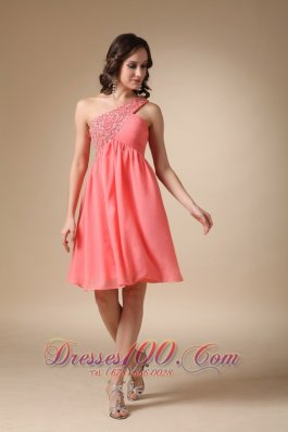 Watermelon Red A-line One Shoulder Knee-length Chiffon Beading Prom / Homecoming Dress  Cocktail Dress