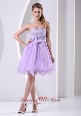 Lilac Sweetheart Beaded Chiffon Sash Short Dress For Prom / Cocktail Knee-length Organza  Cocktail Dress