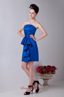 Royal Blue Column Strapless Prom / Homecoming Dress Satin Ruch Mini-length  Cocktail Dress