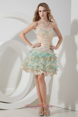 Champagne and Aqua A-line / Princess Sweetheart Beading and Embroidery Short Prom Dress Mini-length Organza  Cocktail Dress