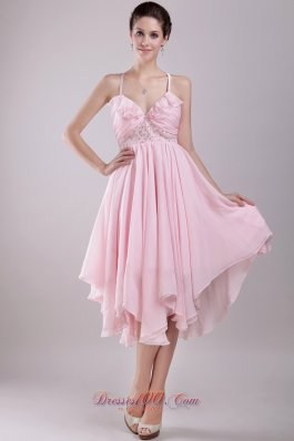Pink Empire Spaghetti Straps Asymmetrical Chiffon Beading Prom / Homecoming Dress  Cocktail Dress