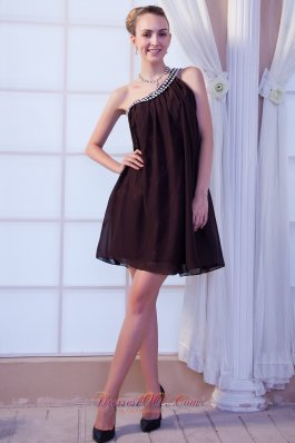 Brown Empire One Shoulder Mini-length Chiffon Beading Cocktail Dress  Cocktail Dress