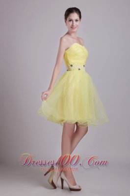 Yellow A-line Sweetheart Short Organza Beading and Ruch Prom / Cocktail Dress