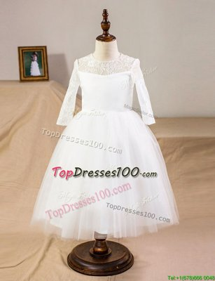 Scoop Half Sleeves Clasp Handle Flower Girl Dresses for Less White Tulle