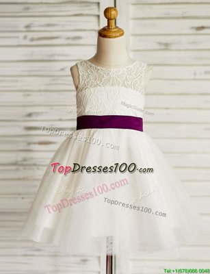 Scoop Mini Length White Flower Girl Dresses Tulle Sleeveless Lace and Bowknot