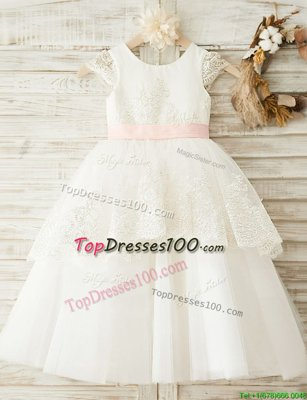 Custom Designed Scoop White Zipper Toddler Flower Girl Dress Lace and Appliques and Bowknot Cap Sleeves Floor Length