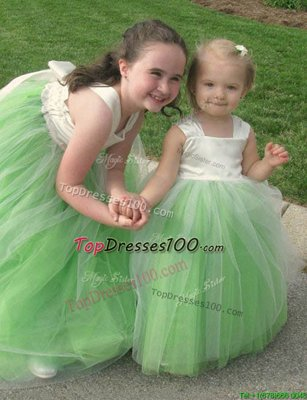 Scoop White Sleeveless Tulle Zipper Flower Girl Dresses for Less for Party and Wedding Party