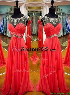 Cute Scoop Sleeveless Chiffon Prom Dress Sashes|ribbons Backless