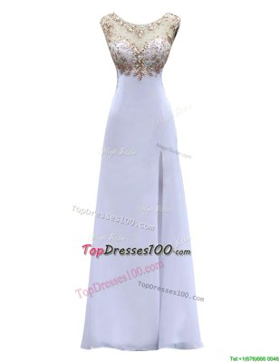 Stunning Scoop Backless White Sleeveless Beading Floor Length Evening Dress