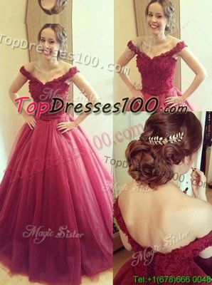 Exquisite Fuchsia A-line Tulle Off The Shoulder Sleeveless Appliques Floor Length Lace Up Pageant Dress for Womens