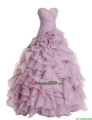 Lilac Organza Zipper Sweetheart Sleeveless Floor Length Pageant Dress Ruffles