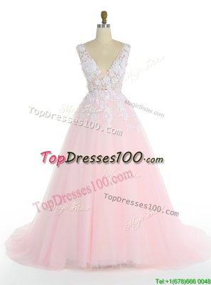 Traditional Pink A-line V-neck Sleeveless Tulle With Train Sweep Train Zipper Appliques Winning Pageant Gowns