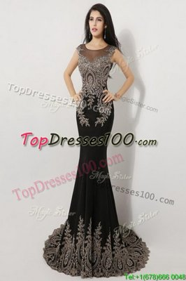 Deluxe Mermaid Scoop Sleeveless Floor Length Appliques Zipper Pageant Dress for Teens with Black Brush Train