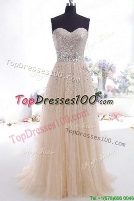 Champagne Empire Sweetheart Sleeveless Organza Sweep Train Zipper Beading and Belt Custom Made Pageant Dress