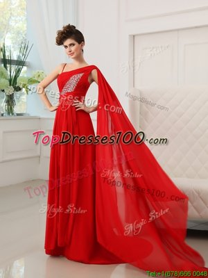 Delicate One Shoulder Red Sleeveless Court Train Beading and Ruching With Train Pageant Dress