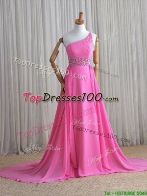 Rose Pink Lace Up One Shoulder Beading Glitz Pageant Dress Chiffon Sleeveless Brush Train