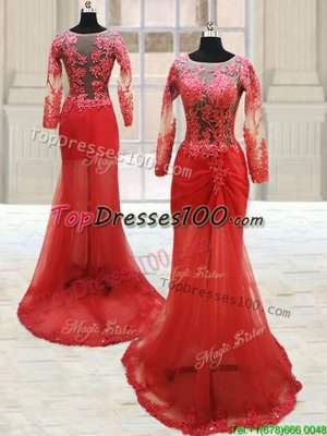 Pretty Scoop Red Long Sleeves Appliques With Train Prom Dress