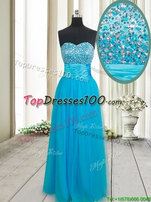 Dynamic Baby Blue Sweetheart Lace Up Beading Evening Dress Sleeveless